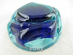 Galliano Ferro Murano dimpled geode bowl sommerso ice blue & turquoise 70's