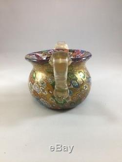 Gambaro & Poggi Millefiori Gold Flake Handblown Glass Vase Handles Murano Italy