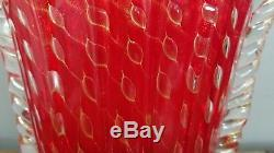 Gigantic Ercole Barovier Vintage Murano Red Gold Glass Vase
