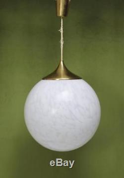 Globe Chandelier in White Mottled Murano Hand blown Glass Italy 1970