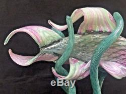 Gorgeous Large Hand Blown Art Glass Striking Tropical Fish Sculpture