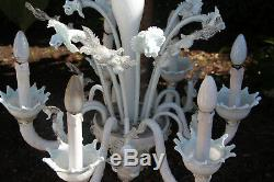 Gorgeous Murano hand blown 6 arms white glass chandelier mid century retro 60's