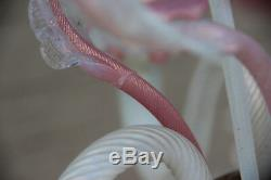 Gorgeous Venetian MURANO handblown pink glass Chandelier 6 arms 1970 Italy