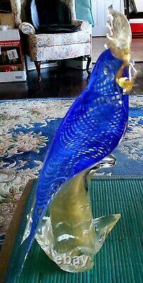 Grand 1950's Seguso Murano 14 Cockatoo Blue Swirl & Gold Aventurine