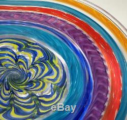 Hand Blown Glass Art Wall Bowl Platter, Dirwood, Murano Incalmo & Cane Processes