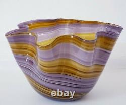 Hand Blown Glass Murano Art Style Bowl Purple Brown Decorative Handkerchief