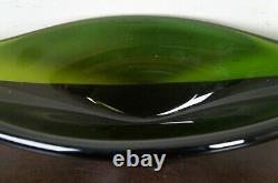 Hand Blown Green Art Glass Centerpiece Heavy Fruit Bowl Freeform Murano Modern