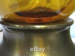 Hand Blown Italian Glass Ribbon Swirl Pattern Murano Lamp Set