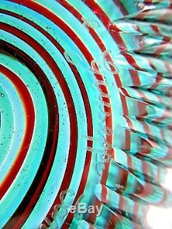 Hand Blown Italian Murano Art Glass Swirl Bowl In Teal, Red Swirl 17 1/4 Dia