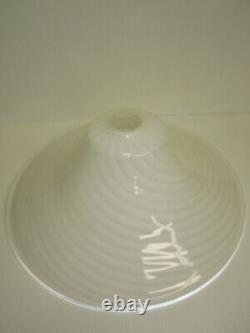Hand Blown Lamp Shade Murano Glass Chandelier White Swirl Italy VETRI VENINI