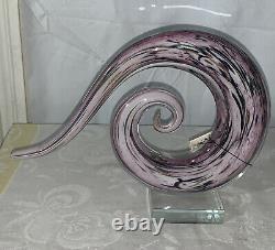 Hand Blown Pink Multicolor Circular Abstract Murano Art Glass Sculpture