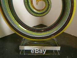 Hand Blown Rainbow Colored Circular Abstract Murano Art Glass Sculpture Excell