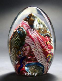 Hand Blown Solid Glass Sculpture Murano Art Paperweight 24K Gold- Zac Gorell