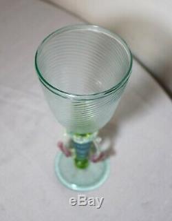 Hand blown Italian Venetian Murano art studio glass goblet chalice stemware cup