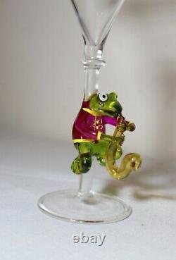 Hand blown Venetian Murano art studio glass frog goblet chalice stemware martini