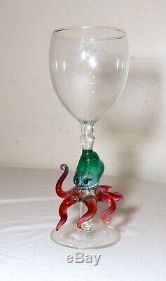 Hand blown Venetian Murano art studio glass octopus goblet chalice stemware
