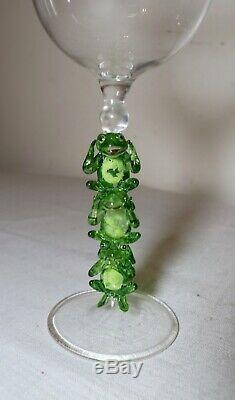 Hand blown Venetian Murano art studio wine glass 3 frog goblet chalice stemware