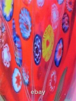 Heavy Red Multi Colored Millefiori Art Glass Vase Murano