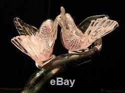 Huge 11 Vintage Murano Filigrana Art Glass Birds On Branch Sculpture 2.4kg