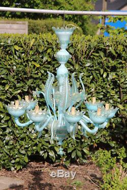 Huge 8 arms Venetian MURANO hand blown turquoise Blue Chandelier 1970 midcentury