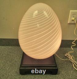 ITALIAN MURANO SWIRLED ART GLASS VETRI MURANO EGG EXTRA LARGE LAMP SHADE With BASE