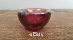 Important Small Carlo Scarpa Venini Bowl in Red Iridescent Glass