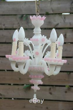 Italian 1970 Pink MURANO hand blown Venetian 5 arms chandelier floral