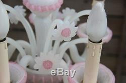 Italian 1970 Pink MURANO hand blown Venetian 5 arms chandelier floral