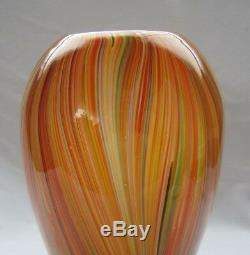 Italian Murano Art Glass Many Different Color Stripes Large Vase