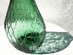 Italian Murano Empoli Green Genie Decanter Bottle Vase 26 Diamond Embossed MCM