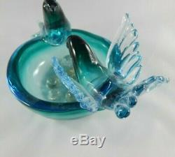Italian Murano Glass Bird, Nest, Eggs Bowl Sculpture Blue, Turquoise, Gold