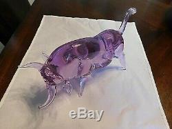Italian Murano Glass Superb Amethyst Neodymium Long Horn Steer Bull Figure