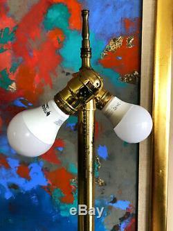 Italian Murano Marbro Sapphire Blue Gold Table Lamp Regency Archimede Seguso