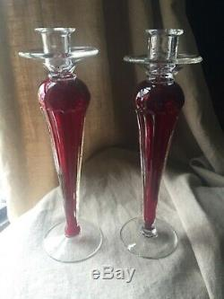 Italian Murano Venetian Seguso Glass Pair Ruby Red CandleSticks candle Holder 13