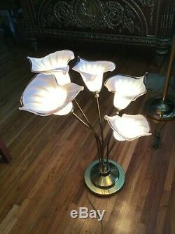 Italian Murano hand blown Calla Lilies Table Lamp