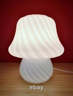 Italy 70s Medium Size White SWIRL MUSHROOM Table Lamp VETRI MURANO Glass Fungo