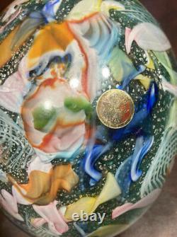 LARGE AVEM Vintage Murano Glass Tutti Frutti Vase in Green 10 Showstopper