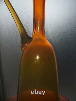 LARGE BLENKO TANGERINE MURANO JUG MIDCENTURY MODERN 45.5cms tall