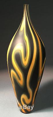 LARGE Black Hand Blown Hot Glass Murano Art Vase -Zac Gorell-FREE SHIPPING