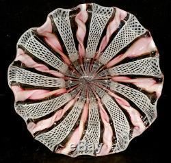 LATTICINO Vintage MURANO Art Glass RUFFLE VASE / Zanfirico Seguso Toso Salviati