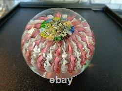 Large FRATELLI TOSO Murano Glass Twisted Ribbon Millefiori CROWN Paperweight