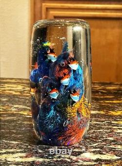 Large Gorgeous Murano Style Art Glass Paperweight 9 Fish Aquarium Coral Reef 6
