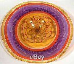 Large Hand Blown Glass Art Wall Bowl Platter By Dirwood Murano Murrini Incalmo