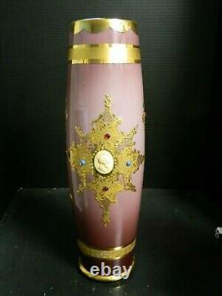 Large Hand Blown Murano Amethyst Cased Gold Embell. Art Glass 18 Vase with Cameos