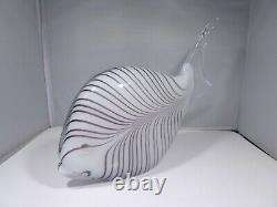 Large Hand Blown Murano Art Glass Stripped Angel Fish