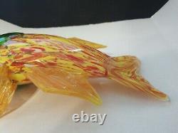 Large Murano Style Hand Blown Art Glass Fish Figurine Yellow, Red & Green