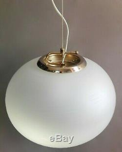 Large Murano hand-blown spiral engraved glass and metal 60s pendant lamp