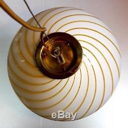 Large Murano hand-blown white&gold swirled glass and brass 60s pendant lamp