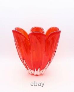 Large Red Art Glass Art Glass Vase Freeform MCM Mid Century Murano Iwatsu 60s