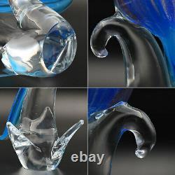 Large VTG Murano Art Glass Blue Bird Figurine Sculpture 11 1/4 Tall